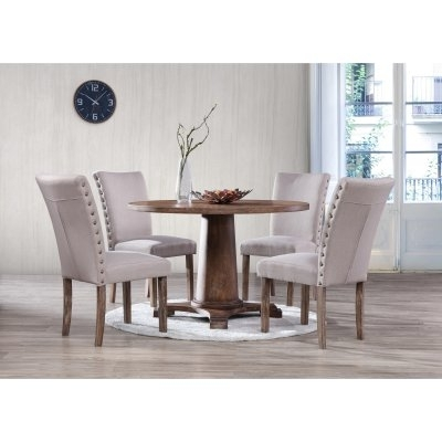 Best Master Furniture Carey Round 5 Piece Round Dining Set In 2018 Intended For Jaxon 5 Piece Extension Counter Sets With Fabric Stools (Image 6 of 25)