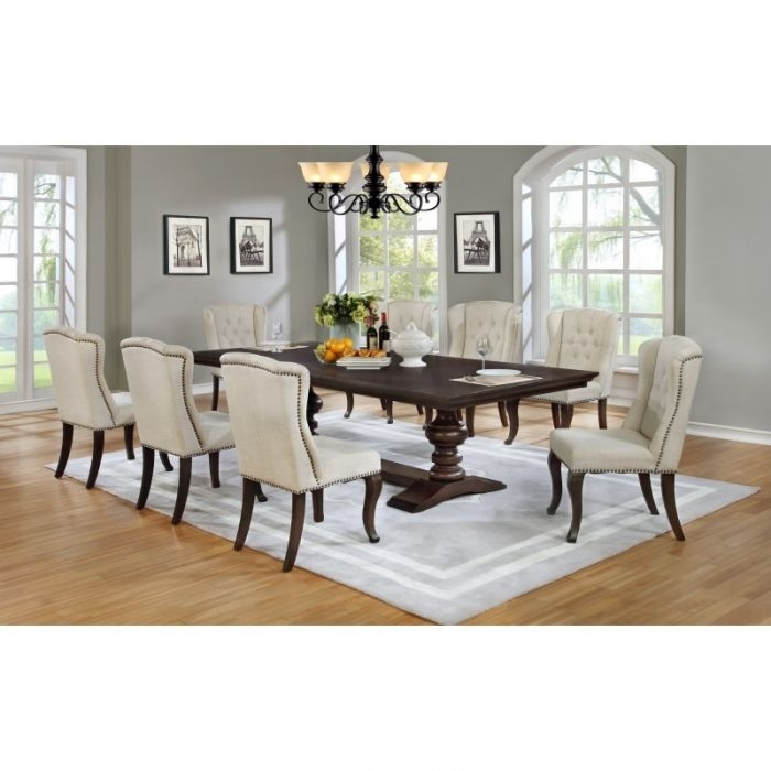 Best Quality 9Pc Cappuccino Dining Table Set Nail Head Fabric Chairs With Dining Tables And Fabric Chairs (Image 4 of 25)