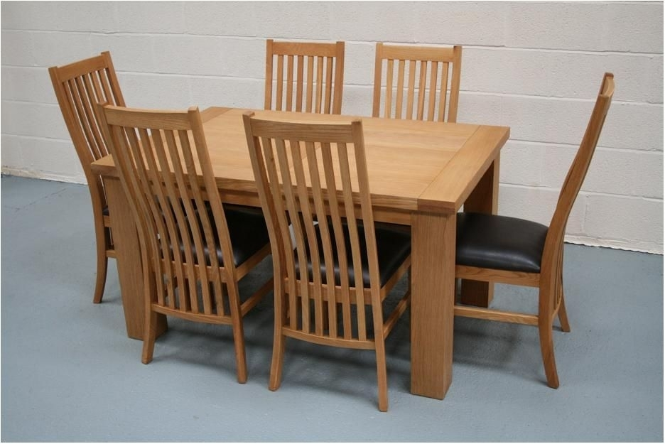 Best Solid Oak Dining Table And 6 Chairs Solid Oak Dining Table And With Regard To Oak Dining Set 6 Chairs (Image 4 of 25)