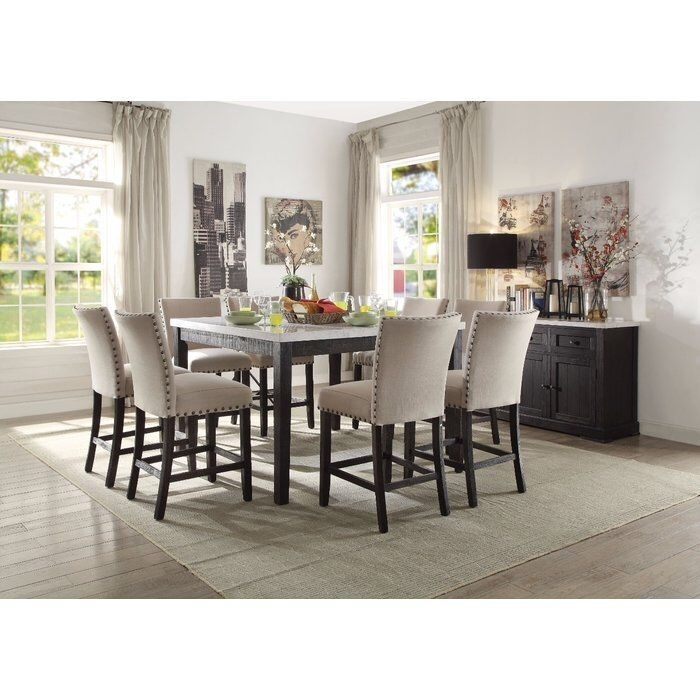 Besteneer Rectangular Dining Room Table Dark Gray – Signat Regarding Jaxon Grey 5 Piece Extension Counter Sets With Fabric Stools (View 25 of 25)