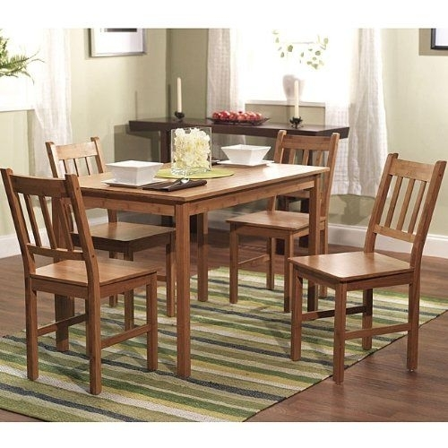 Beuniquetoday 5 Piece Eco Friendly Solid Bamboo Dining Set, 5 Piece Intended For Kirsten 5 Piece Dining Sets (View 12 of 25)