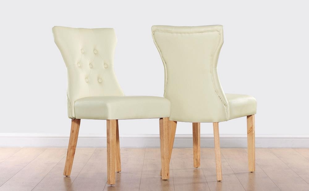Bewley Ivory Leather Button Back Dining Chair (Oak Leg) Only £ (Image 2 of 25)