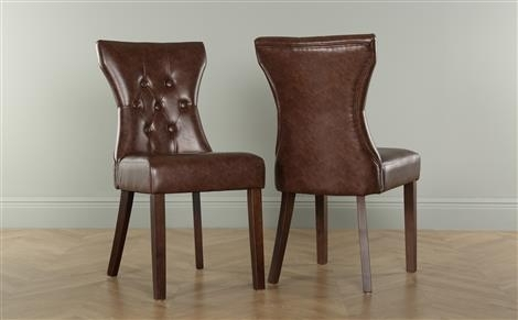 Bewley Leather Button Back Dining Chair Brown (Wenge Leg) Only With Dark Brown Leather Dining Chairs (Image 4 of 25)