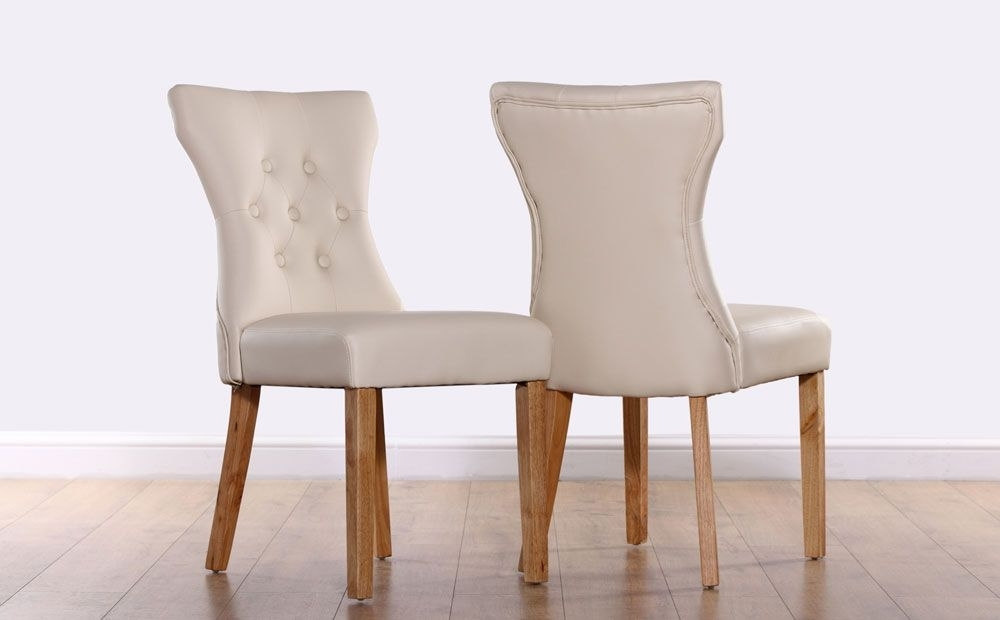 Bewley Leather Button Back Dining Chair – Ivory (Oak Leg) | Kitchen For Cream Leather Dining Chairs (Image 6 of 25)