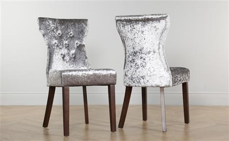 Bewley Velvet Button Back Dining Chair Silver (Dark Leg) Only £ (Image 7 of 25)