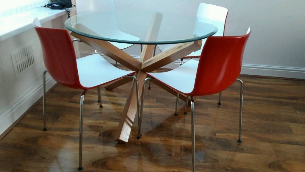 Bhs Solid Oak Glass Top Dining Table And 4 Modern Chairs | In With Regard To Oak Glass Top Dining Tables (Image 4 of 25)