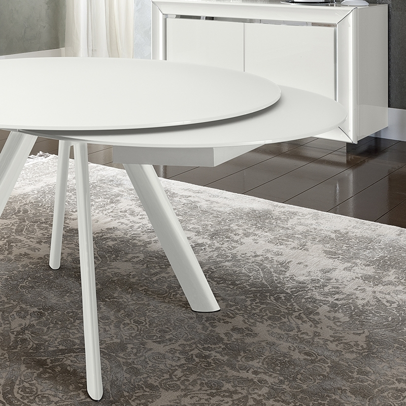 Bianca White High Gloss & Glass Round Extending Dining Table 1.2  (Image 1 of 25)