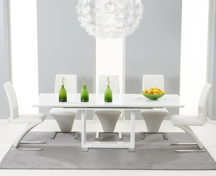Bianco 160Cm White High Gloss Extending Dining Table With Hampstead In White Gloss Dining Chairs (Image 2 of 25)