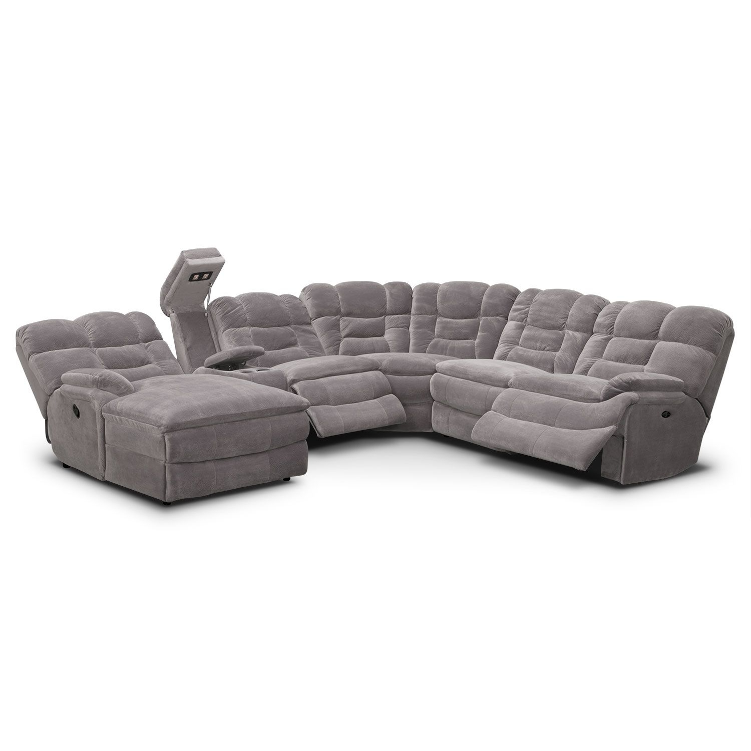 Big Softie 6 Piece Power Reclining Sectional With Left Facing Chaise Regarding Marcus Grey 6 Piece Sectionals With  Power Headrest & Usb (Image 9 of 25)