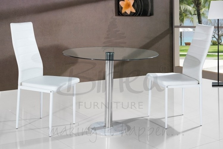 Birlea Romford Glass Dining Table Set With Two Chairs – Whitebirlea With Dining Tables And Chairs For Two (View 10 of 25)