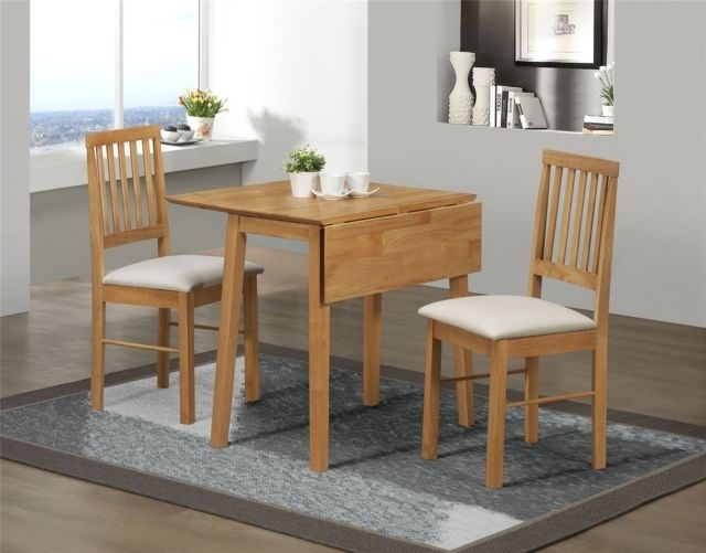 Birlea Rubberwood Small Drop Leaf Dining Table And 2 Chairs Set In With Small Dining Sets (View 8 of 25)