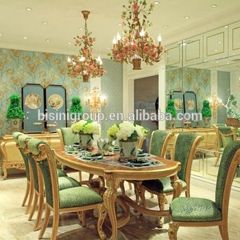 Bisini New Arrival Luxury Golden Dining Table With Green Velvet with Royal Dining Tables