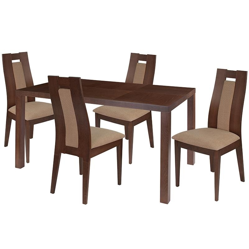 Bisonoffice: Beckham 5 Piece Walnut Wood Dining Table Set With Regarding Valencia 5 Piece Round Dining Sets With Uph Seat Side Chairs (Image 11 of 25)