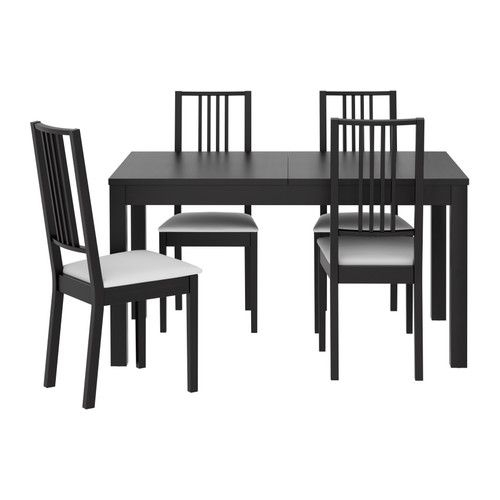 Bjursta / Bernhard Table And 4 Chairs, Brown Black, Kavat Dark Brown In Black Extendable Dining Tables Sets (Image 3 of 25)