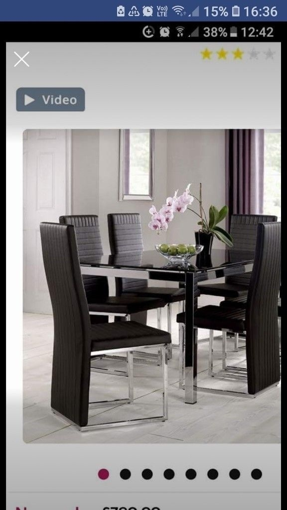 Black And Chrome Glass Dining Table 6 Chairs | In Broughton Within Black Glass Dining Tables 6 Chairs (Image 8 of 25)