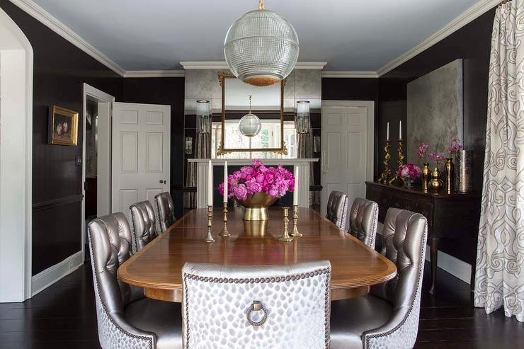 Black And Gray Dining Room With Antique Mirror Wall – Transitional Regarding Antique Mirror Dining Tables (View 21 of 25)