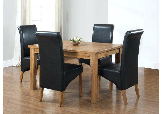 Black And Oak Dining Table 4 Chairs Dining Table Black Oak Intended For Oak Dining Tables And 4 Chairs (Image 5 of 25)
