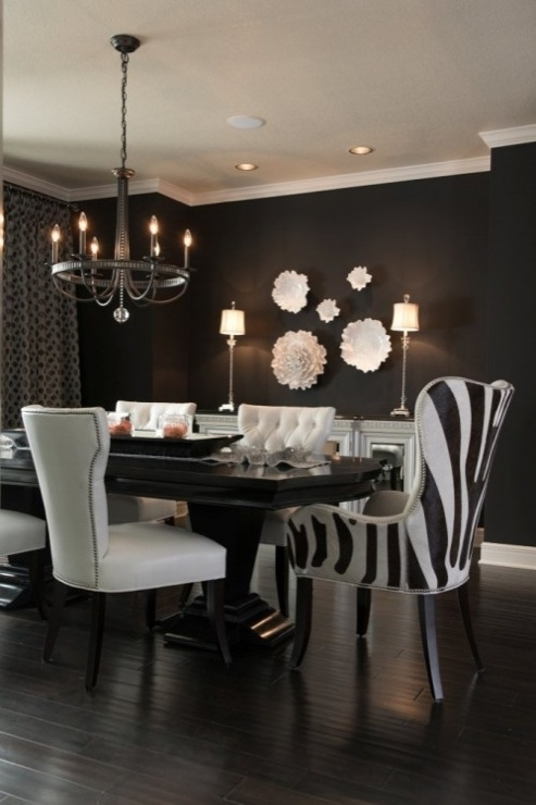 Black And White Dining Room – Contemporary – Dining Room – Benjamin Pertaining To Candice Ii Round Dining Tables (Image 1 of 25)