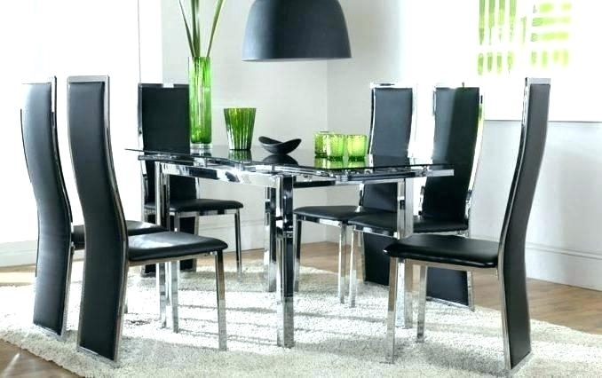 Black And White Glass Dining Table Black Dining Room Table Sets With Regard To Glass Dining Tables Sets (View 9 of 25)