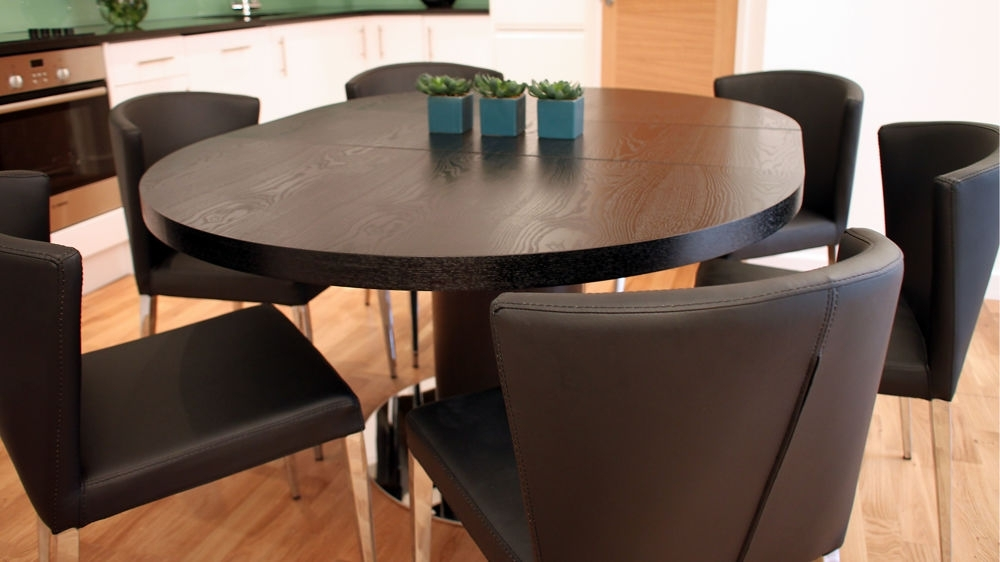 Black Ash Round Extending Dining Table | Pedestal Base | Uk For Dark Round Dining Tables (Image 5 of 25)