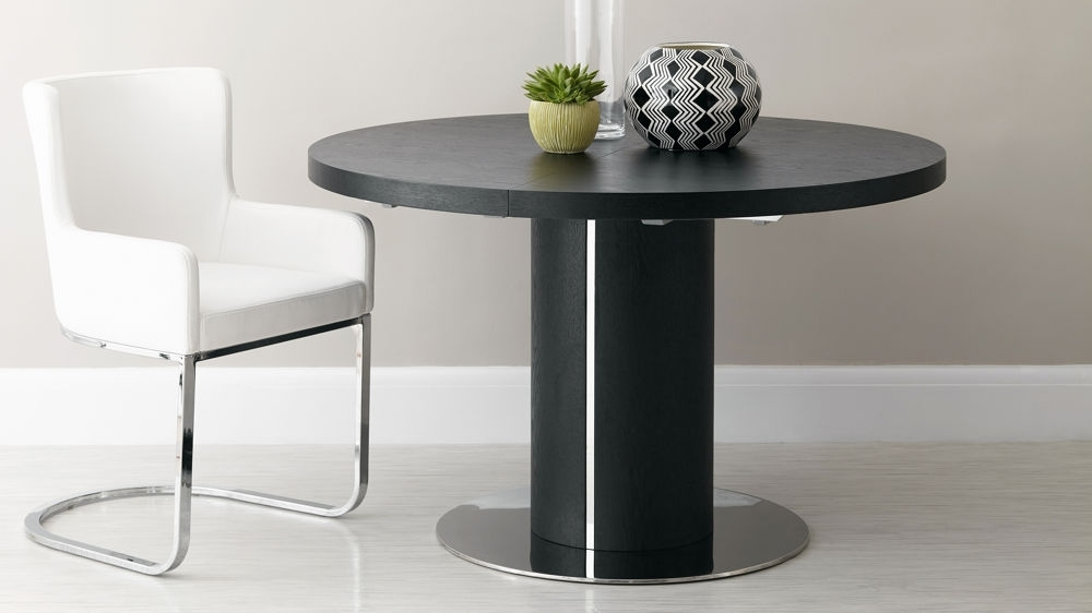Black Ash Round Extending Dining Table | Pedestal Base | Uk Throughout White Gloss Round Extending Dining Tables (View 7 of 25)