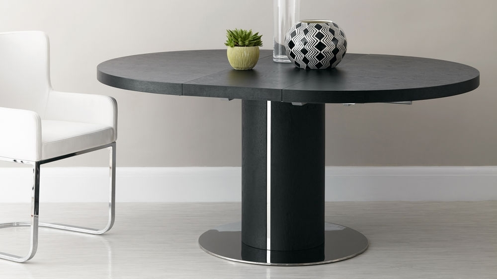 Black Ash Round Extending Dining Table | Pedestal Base | Uk With Black Dining Tables (Image 5 of 25)