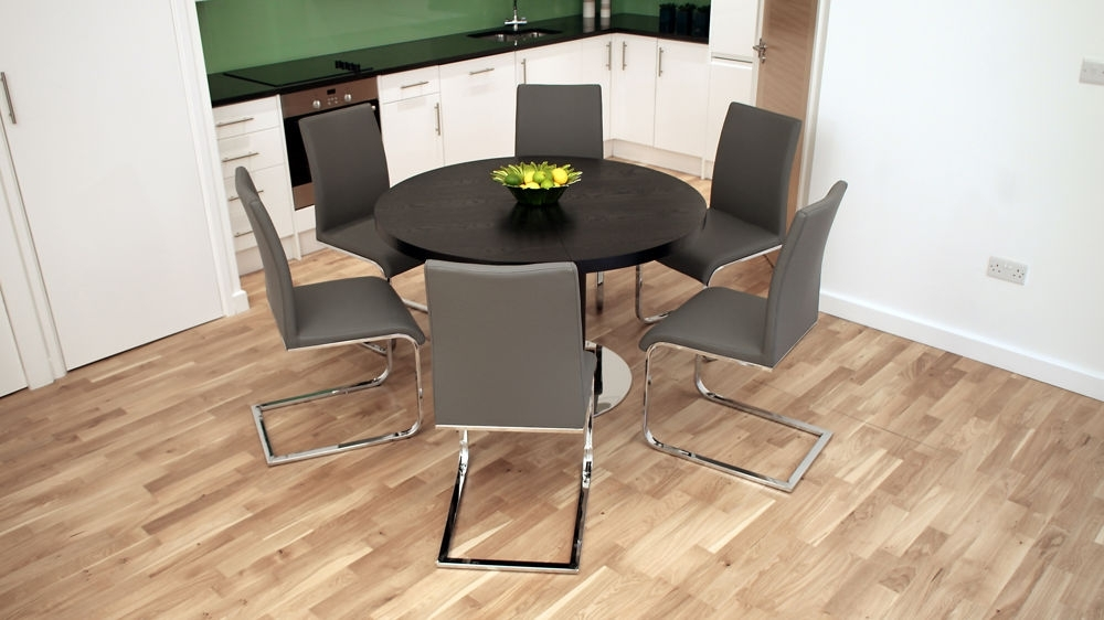 Black Ash Round Extending Dining Table | Pedestal Base | Uk With Chrome Dining Tables And Chairs (Image 4 of 25)