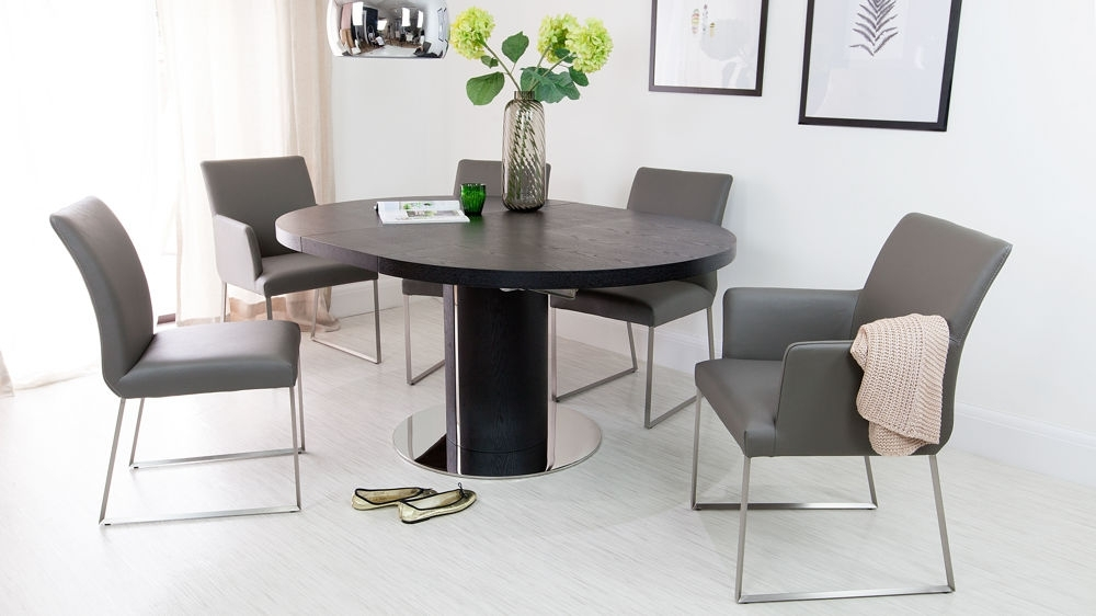 Black Ash Round Extending Dining Table | Pedestal Base | Uk With Extending Black Dining Tables (Image 2 of 25)