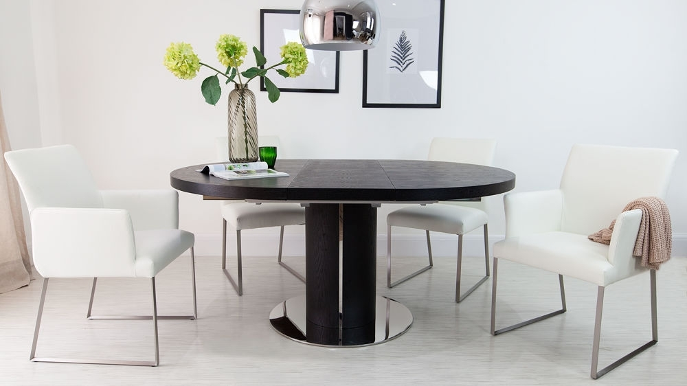 Black Ash Round Extending Dining Table | Pedestal Base | Uk With White Round Extendable Dining Tables (Image 2 of 25)