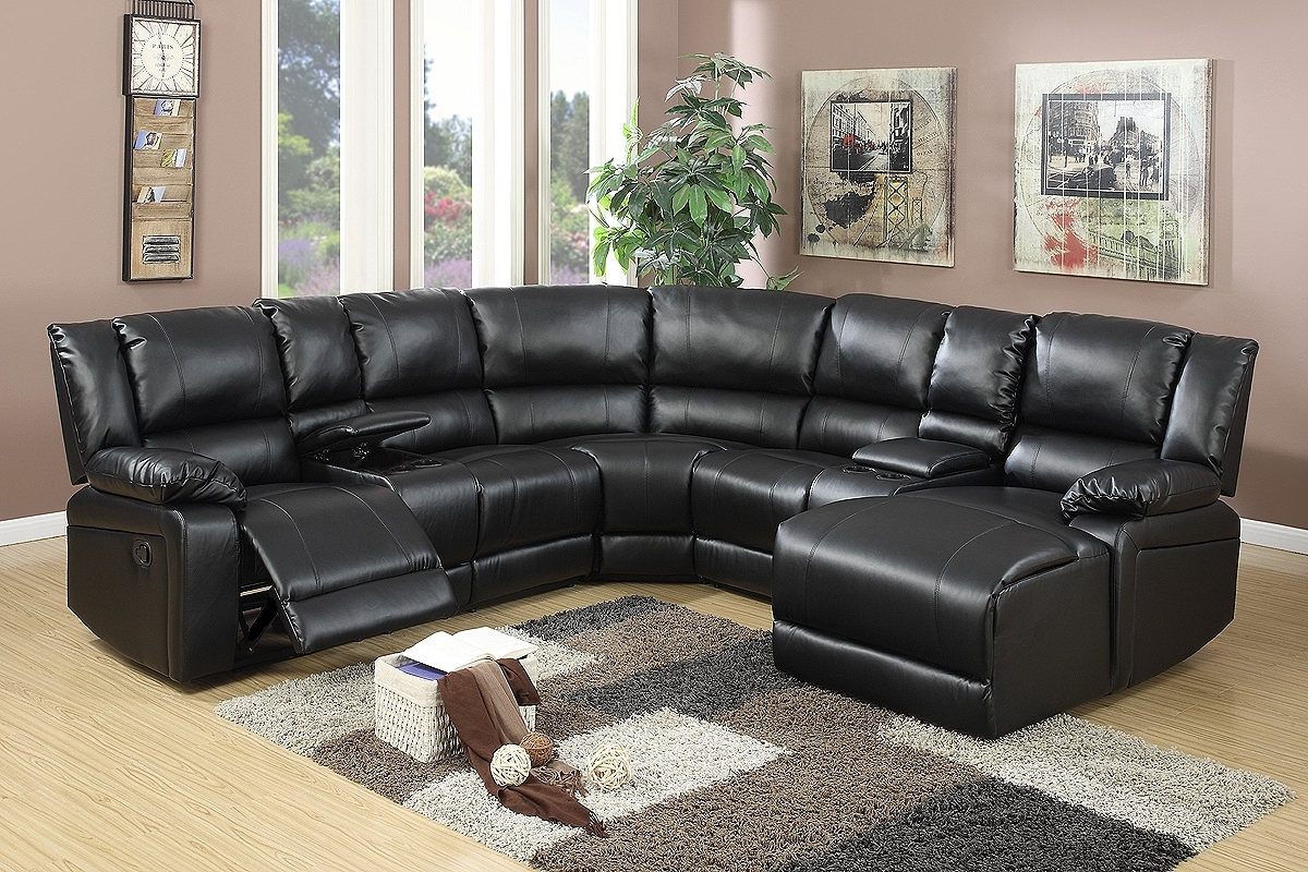 Black Bonded Leather Motion Sectional Chaise – Jendiz Furniture Regarding Avery 2 Piece Sectionals With Laf Armless Chaise (Image 8 of 25)
