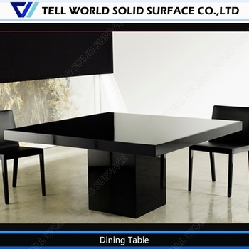Black Chairs White Artificial Stone Table Modern 8 Seater Dining Intended For White 8 Seater Dining Tables (Image 8 of 25)