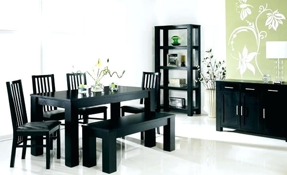 Black Dining Room Furniture Black Dining Table And Chairs Sets Black With Black Wood Dining Tables Sets (Image 4 of 25)