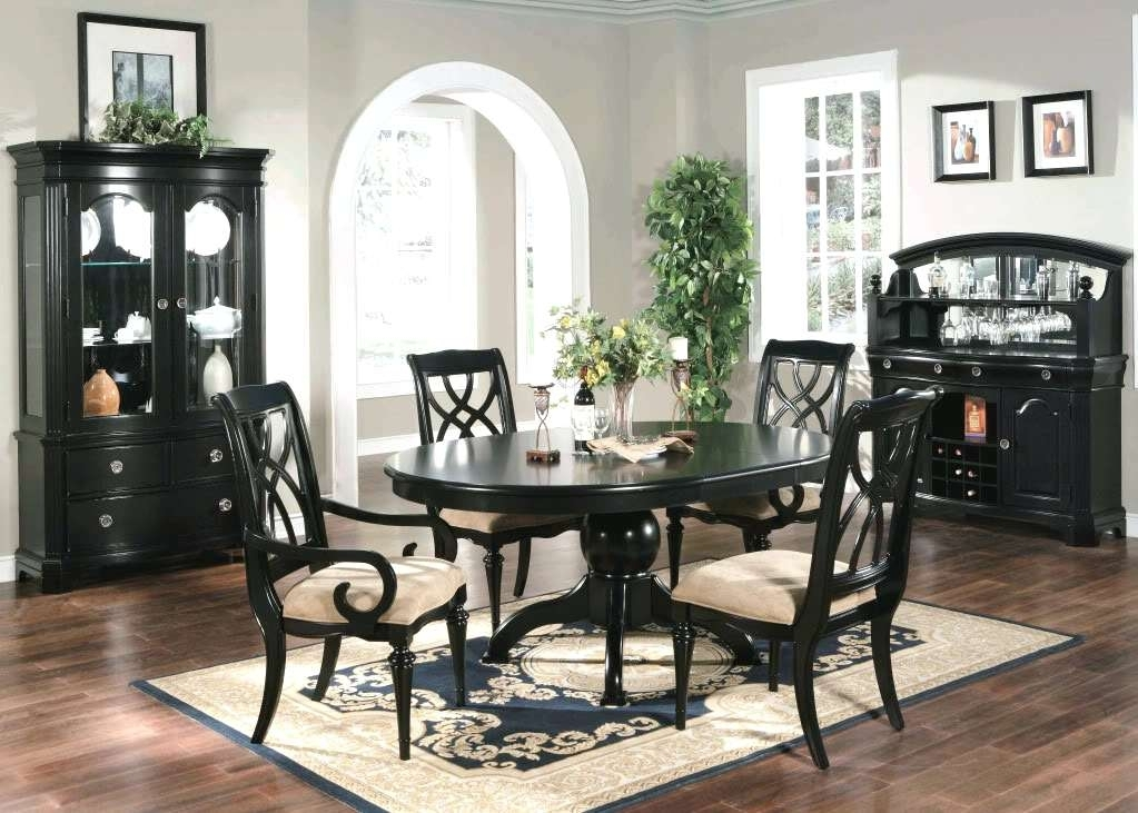 Black Dining Room Furniture Black Dining Table And Chairs Sets Black Within Black Wood Dining Tables Sets (Image 5 of 25)