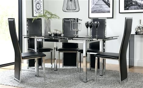 Black Dining Room Furniture Space Chrome Black Glass Extending Regarding Black Extendable Dining Tables And Chairs (Image 5 of 25)