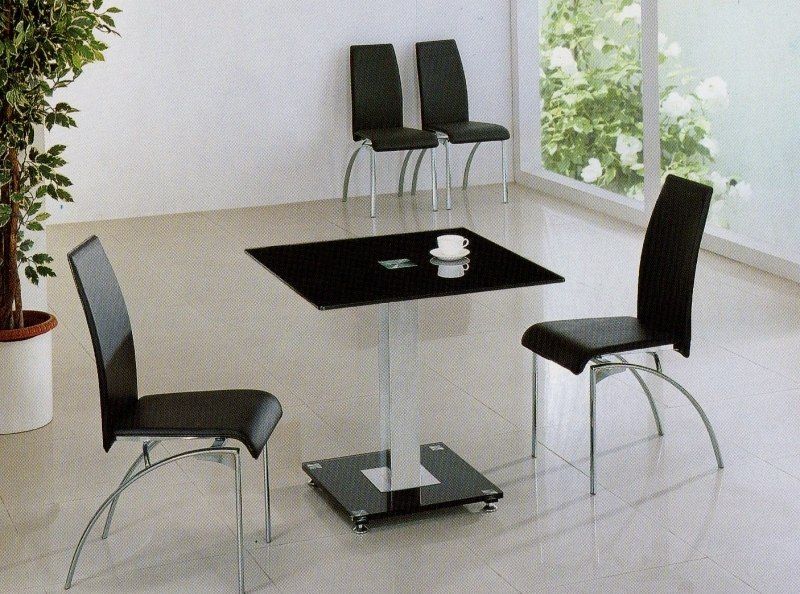 Black Dining Table With 4 Chairs  Black Glass Dining Table With G Throughout Square Black Glass Dining Tables (Image 5 of 25)