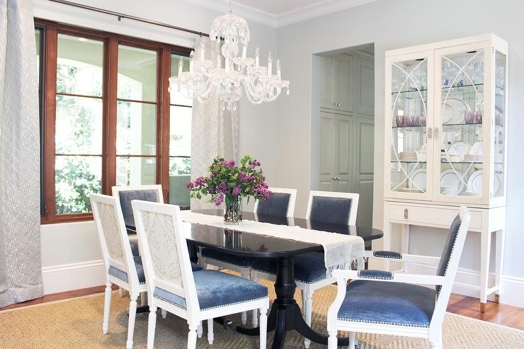 Black Dining Table With Blue Velvet Dining Chairs – Transitional Pertaining To Blue Dining Tables (Image 3 of 25)