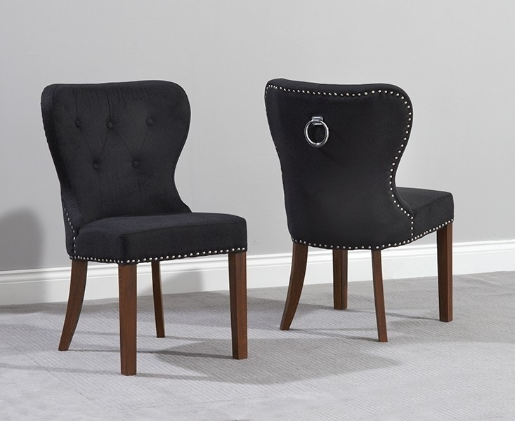 Black Fabric Dining Chairs Vicenza Solid Dark Oak Chair Pair For Oak Fabric Dining Chairs (Image 4 of 25)