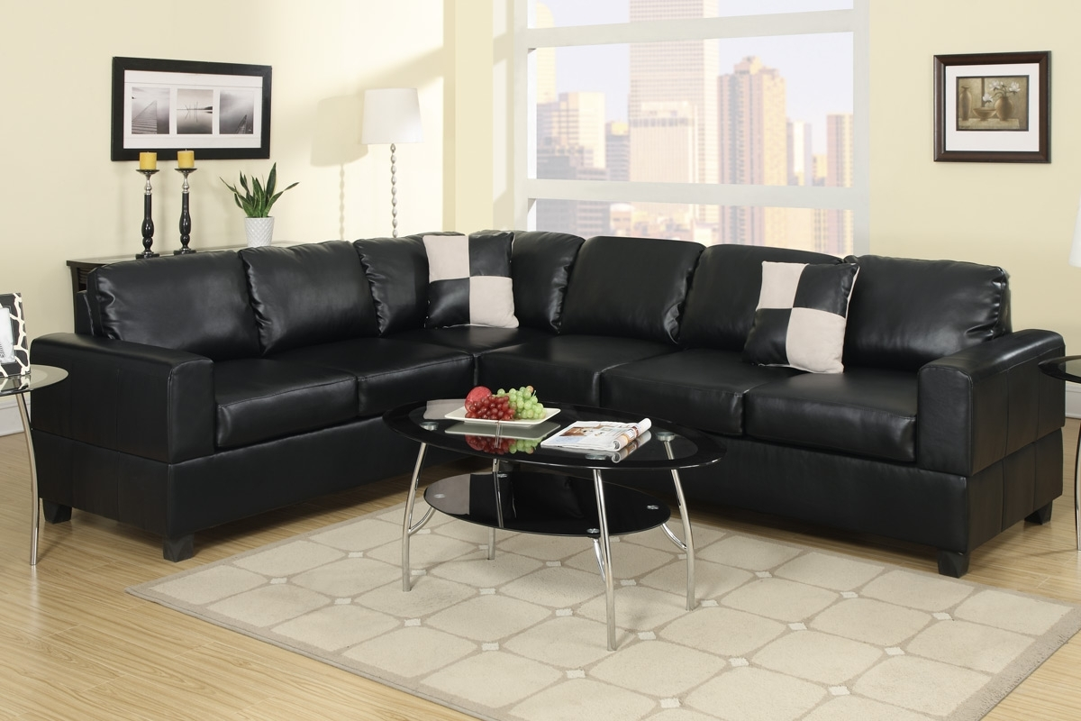 Black Faux Leather Sectional Sofa Less Furniture Tures Couches Regarding Tess 2 Piece Power Reclining Sectionals With Laf Chaise (Image 4 of 25)