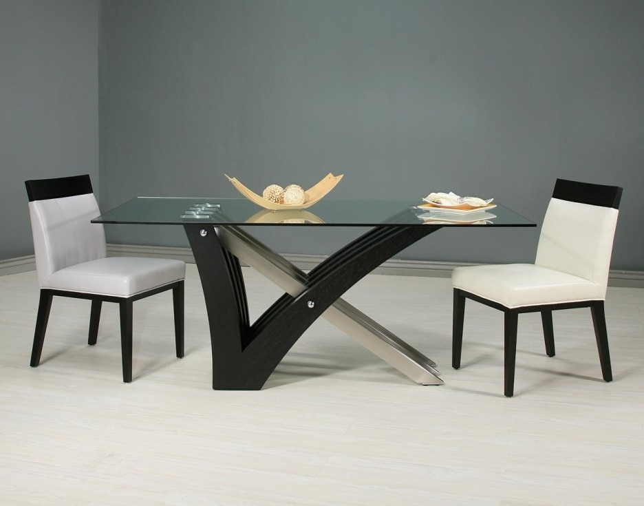 Black Fiberglass Mixed Steel Legs Dining Table With Rectangle Clear With Regard To Glass Dining Tables With Wooden Legs (Image 4 of 25)