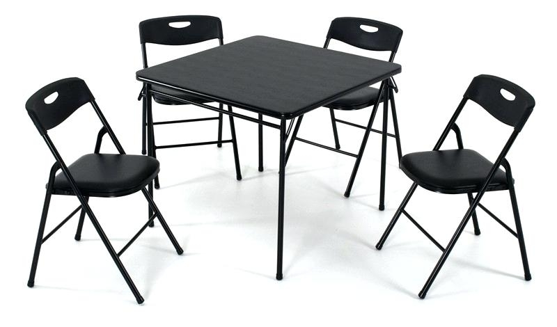 Black Foldable Table Design Of Folding Chairs And Table Set 5 Piece For Black Folding Dining Tables And Chairs (Image 9 of 25)