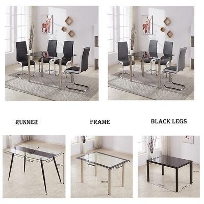 Black Glass Chrome Dining Table Set 4 Or 6 Faux Leather Chairs Grey Inside Glass And Chrome Dining Tables And Chairs (Image 7 of 25)