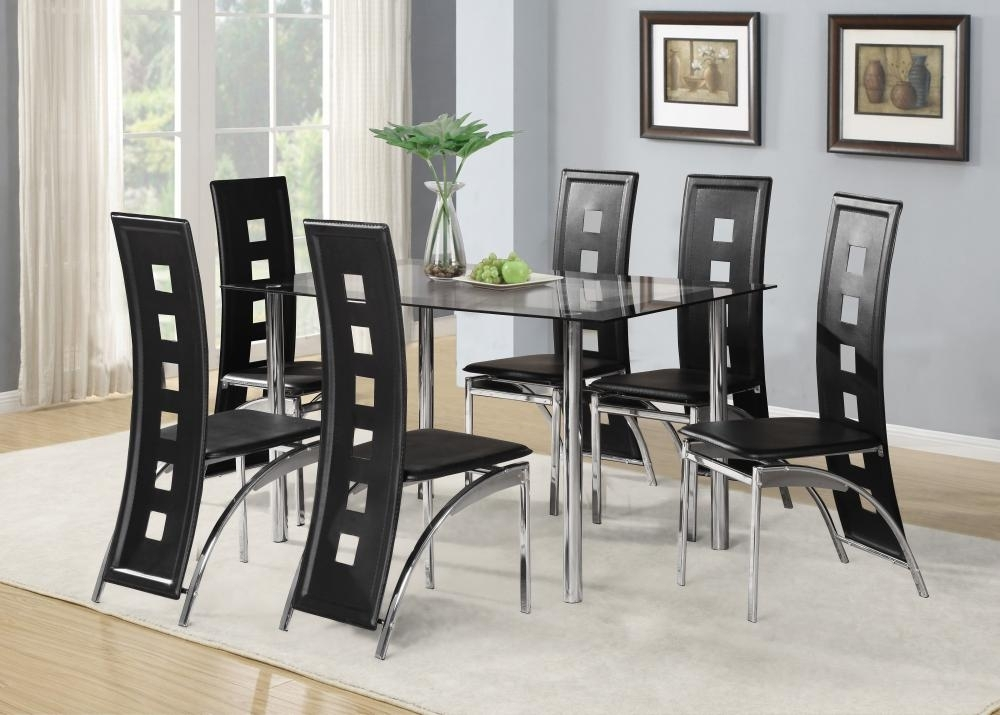 Black Glass Dining Room Table Set And With 4 Or 6 Faux Leather Regarding 6 Chair Dining Table Sets (View 9 of 25)