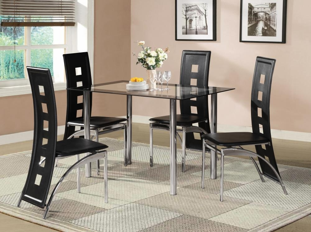 Black Glass Dining Room Table Set And With 4 Or 6 Faux Leather Within Dining Room Glass Tables Sets (Image 7 of 25)