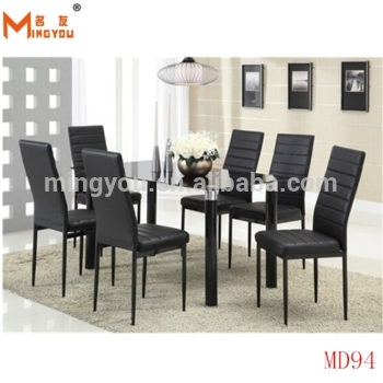 Black Glass Dining Table 6 Chairs Set With Reasonable Price – Buy Intended For Glass Dining Tables 6 Chairs (View 25 of 25)