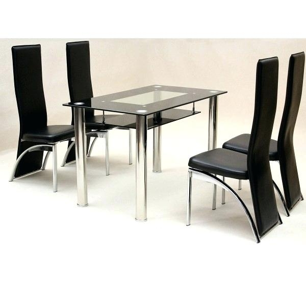 Black Glass Dining Table 8 Chairs Top Set Extending 6 With Cheap Glass Dining Tables And 4 Chairs (View 15 of 25)