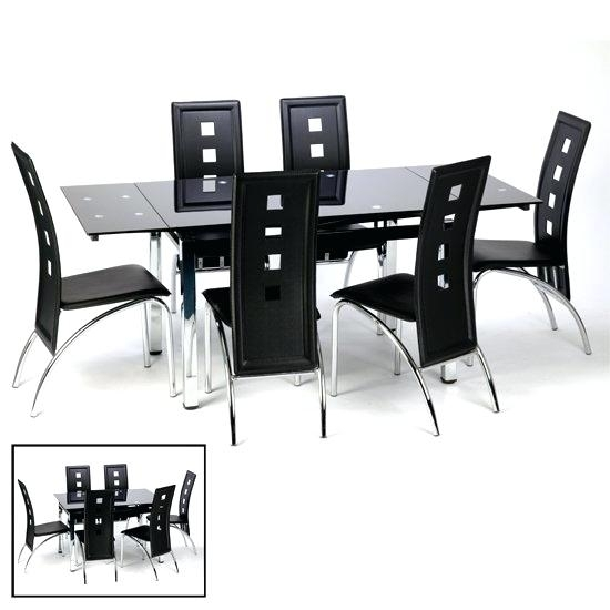 Black Glass Dining Table 8 Chairs Top Set Extending 6 With Regard To Black Glass Extending Dining Tables 6 Chairs (Image 4 of 25)