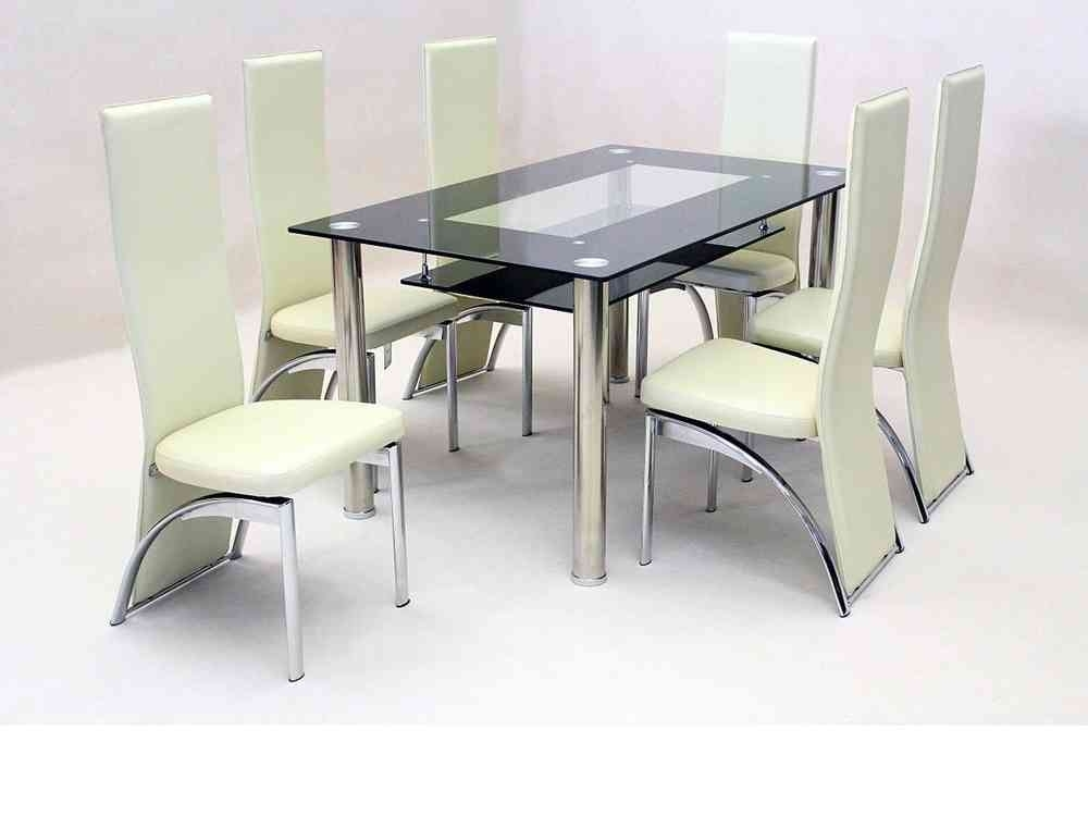 Black Glass Dining Table And 6 Faux Chairs In Cream – Homegenies Regarding Black Glass Dining Tables With 6 Chairs (Image 7 of 25)