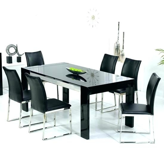 Black Glass Dining Table Set Glass Dining Set Black Chairs Black Throughout Black Glass Extending Dining Tables 6 Chairs (Image 5 of 25)