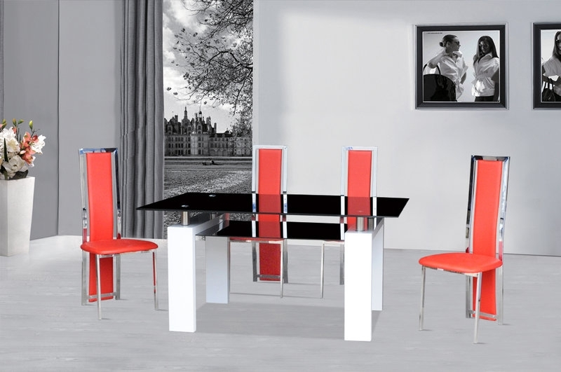Black Glass Dining Table White Gloss & 4 Red Chairs – Homegenies With Regard To White Glass Dining Tables And Chairs (Image 6 of 25)