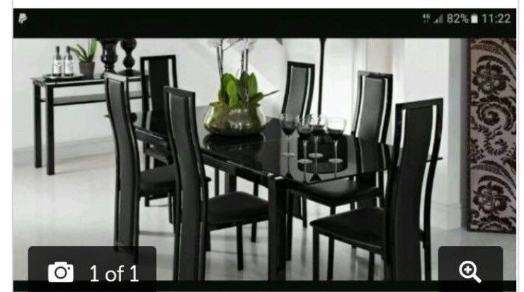 Black Glass Extendable Dining Table With 6 Chairs | In Bury Inside Glass Extendable Dining Tables And 6 Chairs (Image 4 of 25)
